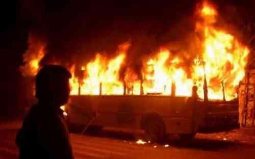 автобус сгорел на трассе в Жамбылской области
