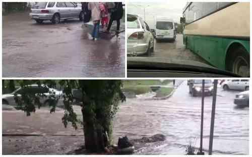 ливень затопил улицы Алматы